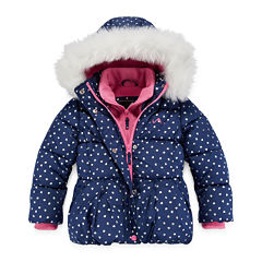 Vertical 9 Dot Puffer Vestee Jacket - Girls