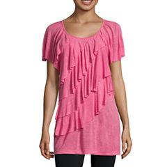 Alyx® Short-Sleeve Ruffled-Front Knit Top