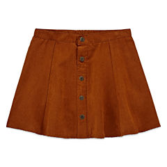 Arizona Faux-Suede Button-Front Skirt - Girls Plus