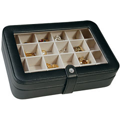 Black Faux-Leather Clear-Top Jewelry Box