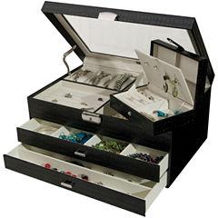 Black Locking Glass-Top Jewelry Box
