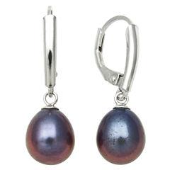 Black Cultured Freshwater Pearl Leverback Earrings