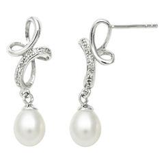 Freshwater Pearl & Diamond-Accent Earrings