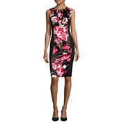 London Style Collection Sleeveless Floral-Inset Sheath Dress