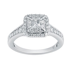 Womens 3/4 CT. T.W. Multi-Shape White Diamond 10K Gold Engagement Ring
