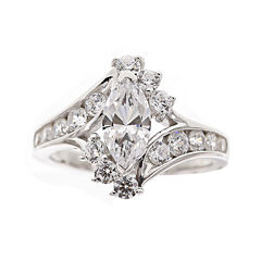 DiamonArt® Cubic Zirconia Sterling Silver Marquise-Cut Bypass Ring