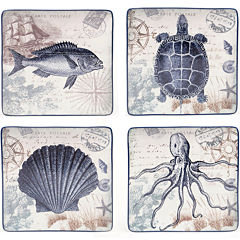 Certified International Coastal Postcards Set of 4 Dinner Plates
