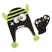 Mystic Apparel Green Monster Hat & Mitten Set - Toddler