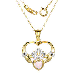 Heart-Shaped Lab-Created Opal and Diamond-Accent Claddagh Pendant Necklace