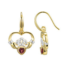 Heart-Shaped Genuine Garnet and Diamond-Accent Claddagh Earrings