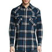 Ely Cattleman® Brawny Flannel Snap-Front Western Shirt - Big & Tall