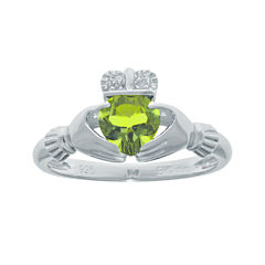 Heart-Shaped Genuine Peridot and Diamond-Accent Sterling Silver Claddagh Ring