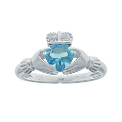 Heart-Shaped Genuine Blue Topaz and Diamond-Accent Sterling Silver Claddagh Ring