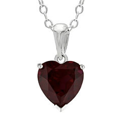 Heart-Shaped Genuine Garnet Sterling Silver Pendant Necklace