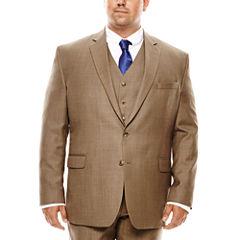 Stafford® Travel Brown Sharkskin Suit Jacket - Big & Tall
