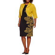 Maya Brooke 3/4-Sleeve Paisley Jacket Dress - Plus