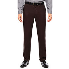 JF J. Ferrar® Burgundy Twill Flat-Front Suit Pants - Slim Fit