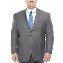Stafford® Super 100 Gray Glen Check Wool Suit Jacket - Portly