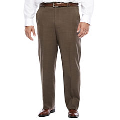 Stafford® Travel Brown Sharkskin Flat-Front Pant-Big and Tall