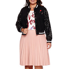 Ashley Nell Tipton for Boutique+ Sequined Bomber Jacket, Graphic Tee or Pleated Faux-Leather Skirt​ - Plus