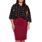 Ashley Nell Tipton for Boutique+ Cropped Long-Sleeve Button Down Shirt or Quilted Pencil Skirt - Plus