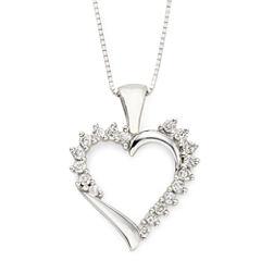 ¼ CT. T.W. Diamond Heart 10K White Gold Pendant Necklace