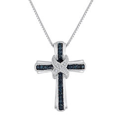 1/10 CT. T.W. White & Color-Enhanced Blue Diamond Cross Pendant Necklace