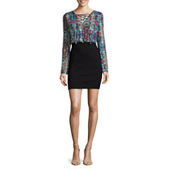 nicole by Nicole Miller® Long-Sleeve Lace-Panel Blouson Dress