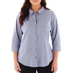 Worthington® 3/4 Sleeve Button Front Shirt - Plus