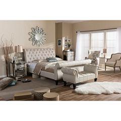 Baxton Studio Arran Linen Upholstered Platform Bed