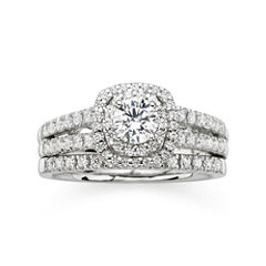 Modern Bride® Signature 1 CT. T.W. Diamond 14K White Gold Bridal Ring Set