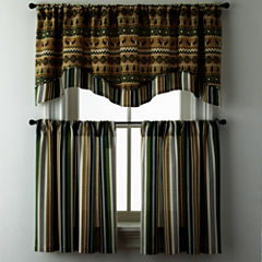 Lodge Elements or Forest Stripe Rod-Pocket Kitchen Curtains