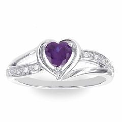 Womens Diamond Accent Purple Amethyst Sterling Silver Cocktail Ring