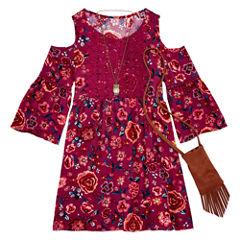 Knit Works 3/4 Sleeve Cold Shoulder Sleeve Peasant Dress - Big Kid Girls