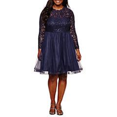 My Michelle Long Sleeve Navy LaceParty Dress-Juniors Plus