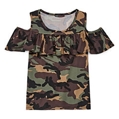 Insta Girl Scoop Neck Short Sleeve Blouse - Big Kid Girls