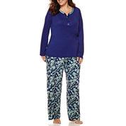 Liz Claiborne® Long-Sleeve Henley and Pants Pajama Set - Plus