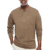 Smith's Workwear Long-Sleeve Rib-Knit Henley Cotton Tee