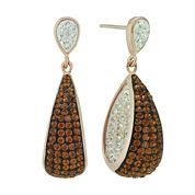 14K Rose Gold Over Sterling Silver Crystal Drop Earrings