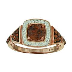 14K Rose Gold Over Sterling Silver Crystal Ring