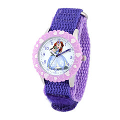 Disney Sofia Kids Time Teacher Purple Nylon Strap Watch