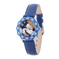 Disney Mickey Mouse Kids Time Teacher Blue Leather Strap Watch