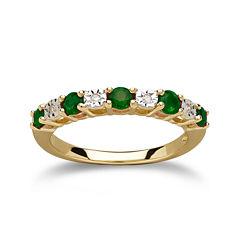 Genuine Emerald Diamond-Accent 10K Yellow Gold Ring