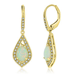 Multi Color Opal 14K Gold Over Silver Drop Earrings