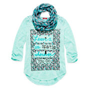 Arizona Crochet Back Top with Scarf and Necklace - Girls 7-16 and Plus