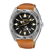 Seiko® Prospex Mens Brown Leather Strap Kinetic GMT Chronograph Sport Watch SUN055