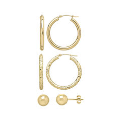 10K Yellow Gold 3-pr. Earring Set