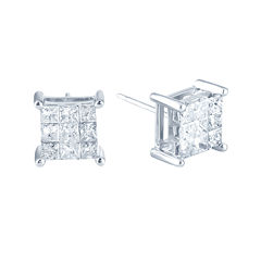 1 CT. T.W. Princess Diamond Stud Earrings