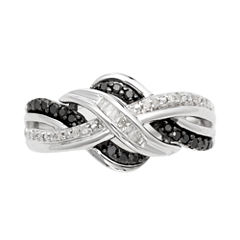 ¼ CT. T.W. White & Color-Enhanced Black Diamond Weave Ring