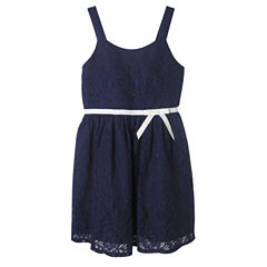 Lilt Sleeveless Allover Lace Navy Dress - Girls' 7-12